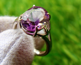 17.80 Cts Unheated & Natural ~ Purple Amethyst Silver Ring