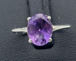 8.38 Crt Natural Amethyst 925 Silver Ring