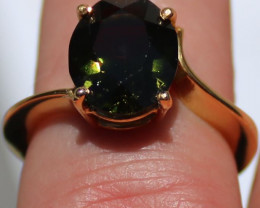 GIA Certified Chrome Tourmaline 3.57ct Solid 18K Yellow Gold Solitaire Ring
