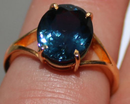 GIA Certified Blue Spinel 5.04ct Solid 22K Yellow Gold Solitaire Ring,Untre