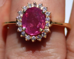 GIA Certified Pink Sapphire 2.10ct Natural Diamonds Solid 18K Yellow Gold C