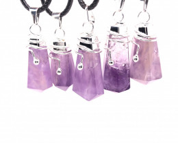 Parcel 5 x Amethyst Terminated Point Pendant BR 780