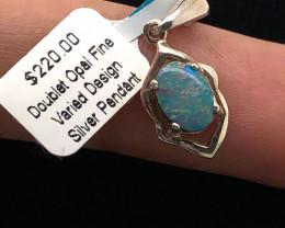 Australian  Opal Doublet in Silver pendant  OPJ 2512
