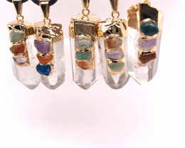 Parcel 5 x Chakra CrystalTerminated Point Pendant BR 783