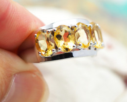 Natural Bright Gem Citrine in Silver Ring F14