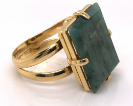 Large  Natural Brazilian Emerald in Gold Plated ring BR 2172