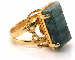 Large  Natural Brazilian Emerald in Gold Plated ring BR 2171