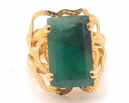 Large  Natural Brazilian Emerald in Gold Plated ring size 6.5  BR 2173