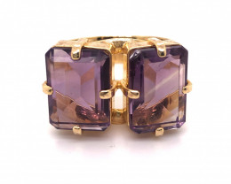 Beautiful  Dual rectangular Amethyst Ring  BR  2174