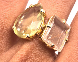 Rutilated Quartz  N lemon quartz  gemstone Ring  Adjustable Size  BR185
