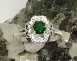 Natural garnet - tsavorite fine silver ring