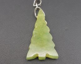 Christmas Tree Nephrite Pendant.