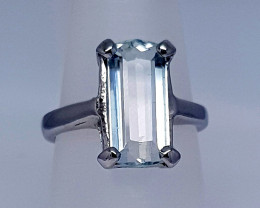 Natural Aquamarine Ring 925 Sterling Silver Ring (NJT28)