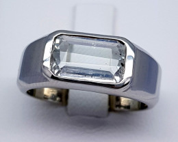 Natural Aquamarine Ring 925 Sterling Silver Ring (NJT29)