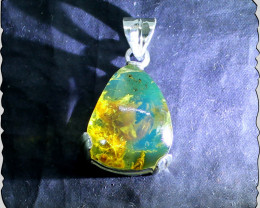 Genuine Dominican Sky Blue Amber Solid Sterling Silver Pendant 1.5inch