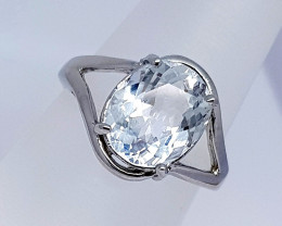 Natural Aquamarine Ring 925 Sterling Silver Ring (NJT32)