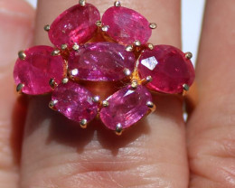 GIA Certified Pink Sapphire 5.25ct Solid 22K Yellow Gold Multistone Ring,Un