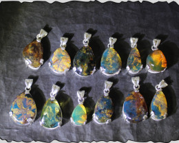 12 Genuine Dominican Sky Blue Amber Solid Sterling Silver Pendants 66grams