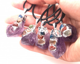 Parcel 5 x Chakra Amethyst Terminated Point Pendant BR 792
