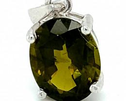 Green Tourmaline 4.02ct Solid 925 Sterling Silver Rhodium Finish Pendant