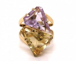 Large  Natural BrazilianAmethyst  n Lemon quartz in Gold Plated ring BR 801