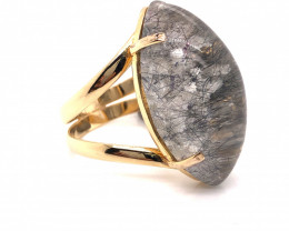 Large  Natural Brazilian Rutilated needles  Quartz in Gold Plated ring BR 8