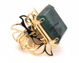 Large  Natural Brazilian Emerald in Gold Plated ring BR 807