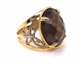 Large  Natural BrazilianSmokey Quartz in Gold Plated ring BR 809