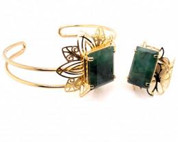 SET Large  Natural Brazilian Emerald in Gold Plated ring nd bracelet BR 811