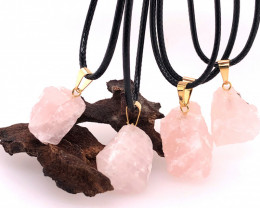 Parcel 5 x Rose Quartz Terminated Point Pendant BR 821