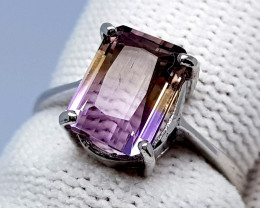 Natural Bolivian Ametrine Beautiful 925 Sterling Silver Ring  (NJT44)