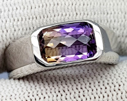 Natural Bolivian Ametrine Beautiful 925 Sterling Silver Ring (NJT45)