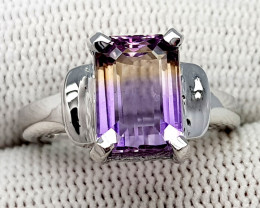 Natural Bolivian Ametrine Beautiful 925 Sterling Silver Ring (NJT46)