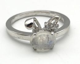 11.33 Crt Natural Moonstone 925 Silver Ring ( RK-5 )