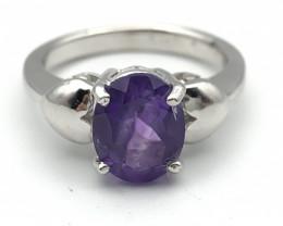 17.26 Crt Natural Amethyst 925 Silver Ring ( RK-5 )