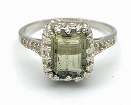 11.36 Crt Natural Tourmaline 925 Silver Ring ( RK-5 )