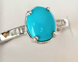 Arizona Sleeping Beauty Turquoise and Diamond Ring 1.75 TCW