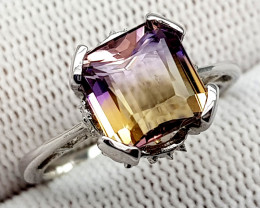 Natural Bolivian Ametrine Beautiful 925 Sterling Silver Ring (NJT55)