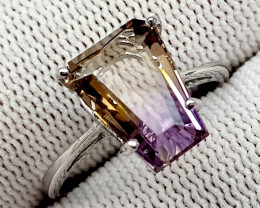 Natural Bolivian Ametrine Beautiful 925 Sterling Silver Ring (NJT56)