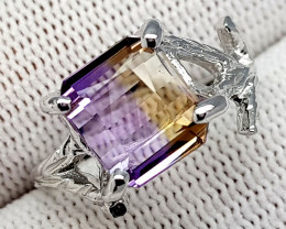 Natural Bolivian Ametrine Beautiful 925 Sterling Silver Ring (NJT57)