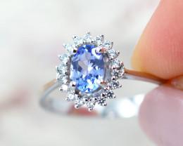 Natural Tanzanite in Silver Princess Ring F19D