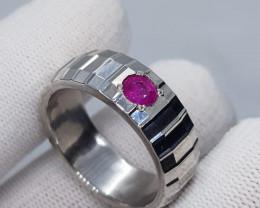Natural Kashmir Ruby 925 Sterling Silver Handmade Ring