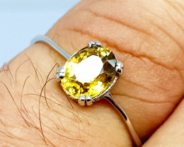 Natural Yellow Zircon 925 Sterling Silver Ring (NJT67)