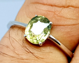 Natural Yellow Zircon 925 Sterling Silver Ring (NJT68)