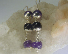 Crafted mix beada earrings 999 silver designs
