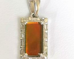 Canadian Ammolite and Diamond Pendant 1.50 TCW