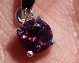 Rhodolite Garnet 1.57ct Solid 925 Sterling Silver Rhodium Finish Pendant