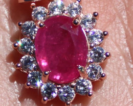 Red Tajik Spinel 1.40ct Rose Gold Finish Solid 925 Sterling Silver Pendant,