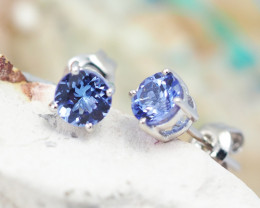Natural Tanzanite in Silver Earings F22D