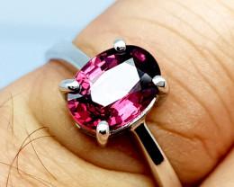 Natural Beautiful Rhodolite Garnet 925 Sterling Silver Ring (NJT62)